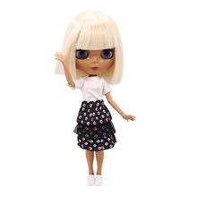 Dark skin tone Blyth doll light golden straight soft hair with bangs JOINT Azone body 30cm 280BL0510 fortune days(China)