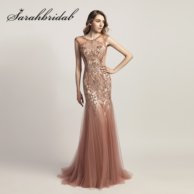 Dusty Rose Mermaid Evening Dresses 2018 Luxury Beading Crystals Long Tulle  Formal Celebrity Red Carpet Gowns Floor Length CC447 9dc5b330467f