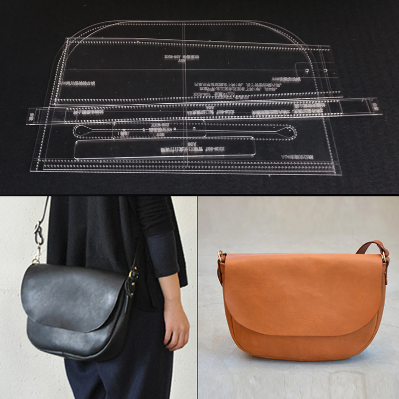 6pcs//set Acrylic Tote Bag Pattern Mould Stencil Template Set Leather Crafts