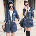 2015 Autumn in the long section was thin loose fashion solid color hooded windbreaker jacket female long-sleeved denim