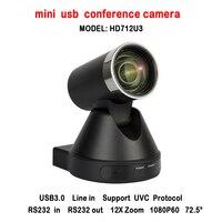 Novo Design de 2MP 12x Zoom Óptico HD Mini USB Câmera De Vídeo Conferência PTZ Armazenamento Local Para Qualquer Sistema de Conferência Web
