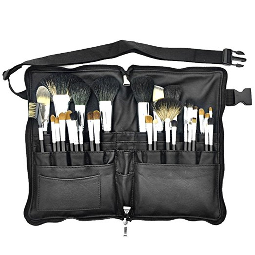 32 Pcs Mink Hair Professional Cosmetic Tool Waist Makeup Brush Set Black 10 led desktop magnifying glass lamp hands free illuminated magnifier w 2 ways batteries or external plug charger power supply