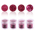 Nail Art Decoration 4 Bottle/Set Mix Sizes Acrylic Mini Sequins Laser Glitter Dust Hexagon Fuchsia Design DIY Nails Powder