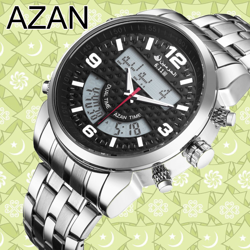 6.11 New Stainless Steel LED Digital Dual Time Azan Watch  3 Colors Free Shipping