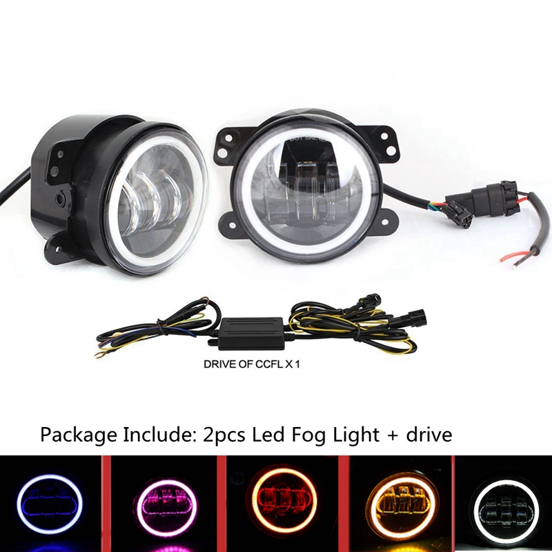 ФОТО Pair 4 Inch 30W LED Fog Light with White DRL & Turn Singal for Jeep Wrangler Dodge Chrysler Front Bumper Lights