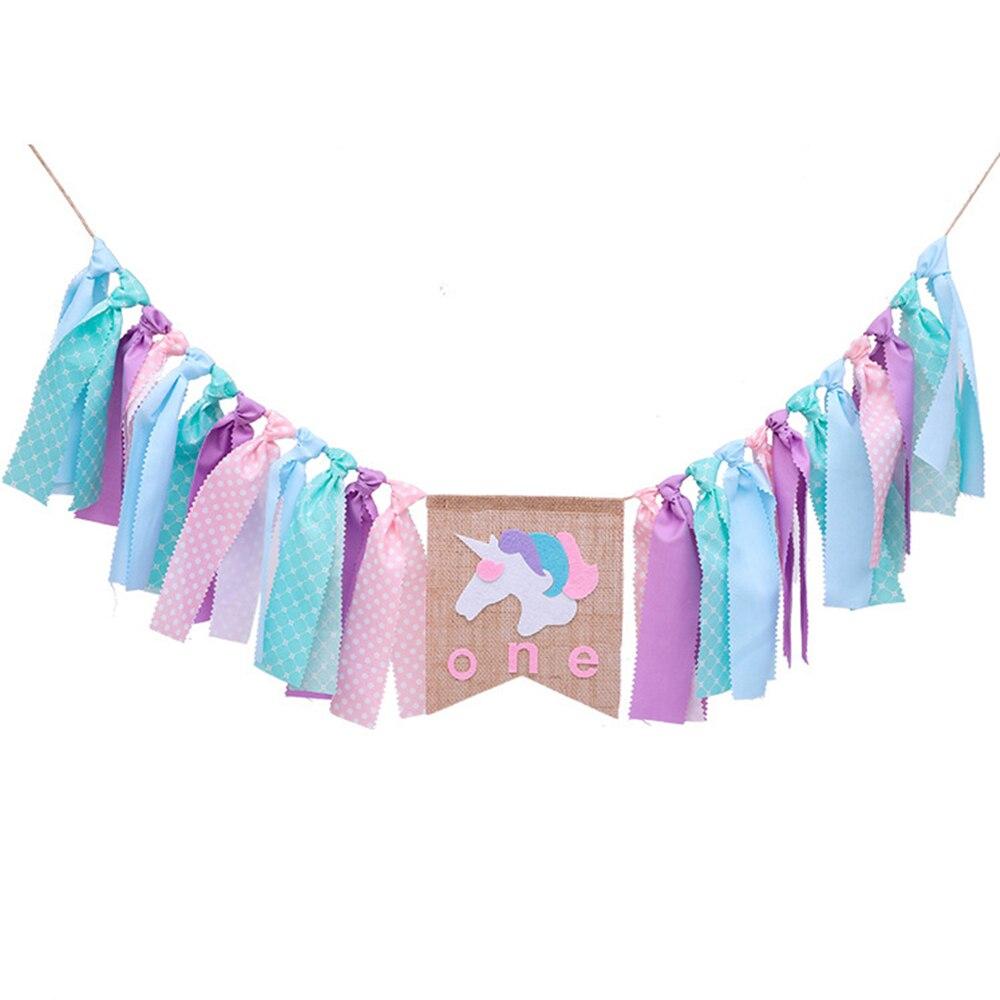 Rainbow Unicorn тема стульчик для кормления баннер джутовую мешковину, ткань для маленьких мальчиков девочек День рождения Единорог украшения ...