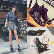 Korean version of the Martin boots women black flat boots and bare  Chelsea boots British autumn and winter sho