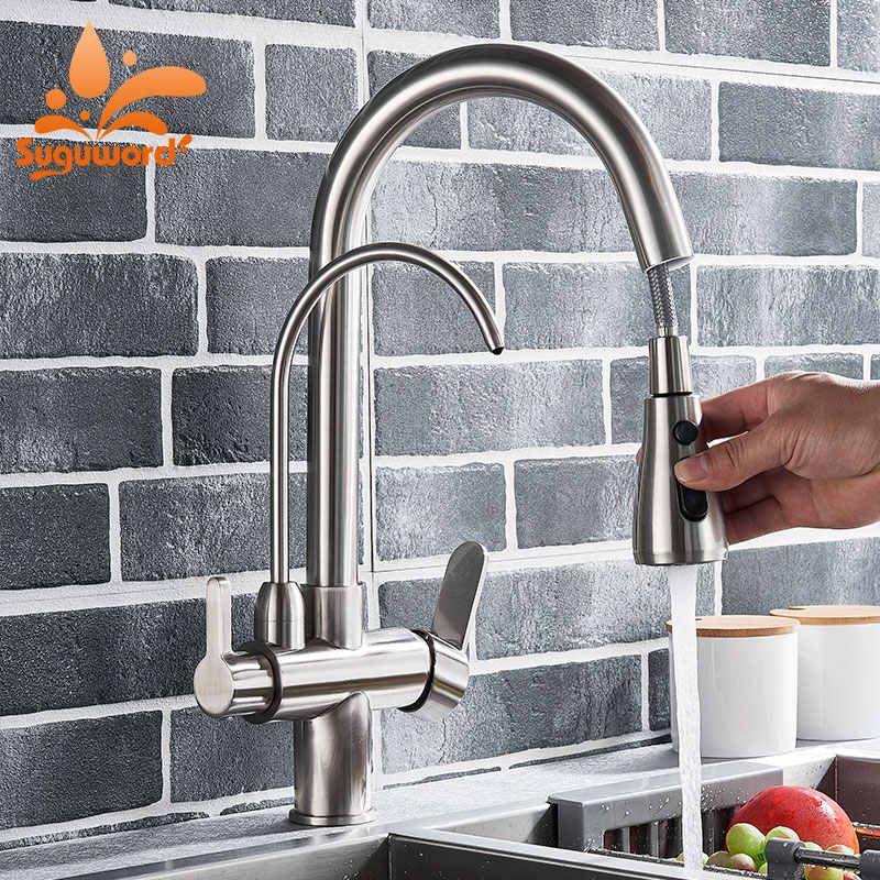 Chrome/Brushed Nickel/Black Kitchen Sink Faucet Purified Water 3ways Hot and Cold Mixer Filler Tap Dual Handle Pull out Faucet