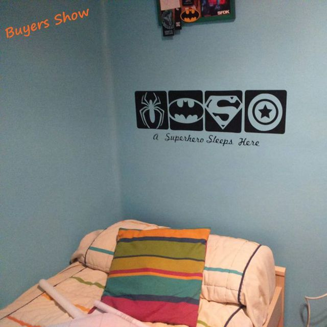 A Super Hero Sleeps Here Vinyl Wall Sticker Spiderman & Batman& ...