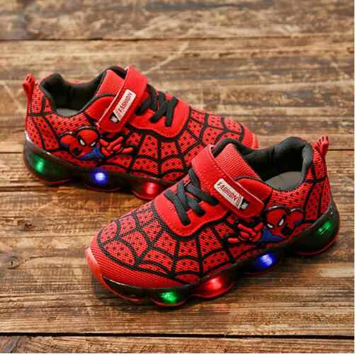 SpiderMan Children Shoes With Light New