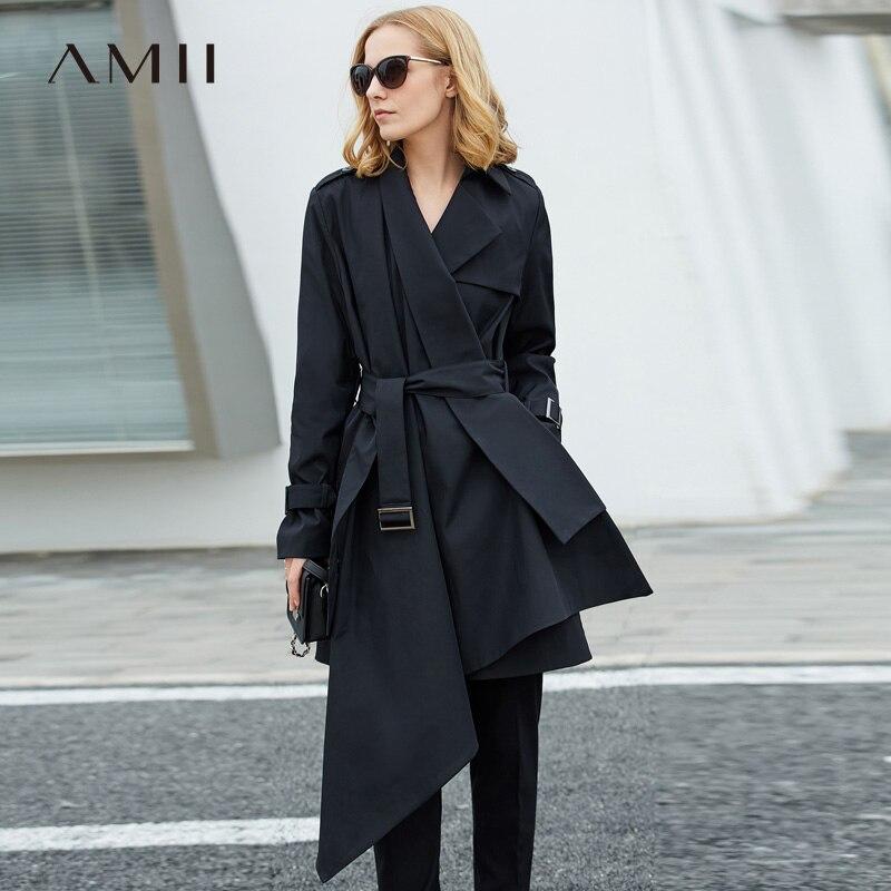 Amii Women Minimalist 2019 Autumn Trench Coat Office Lady Elegant Asymmetric Chic Fashion Windbreaker Female Trench Coats