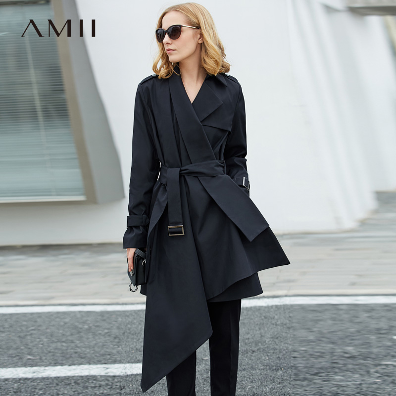 Amii Women Minimalist 2019 Autumn   Trench   Coat Office Lady Elegant Asymmetric Chic Fashion Windbreaker Female   Trench   Coats