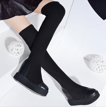 Free Shipping European Style 2016 Winter New Women's Heavy-bottomed Boots High Knee boots Stretch Fabric Women's Knight Boots