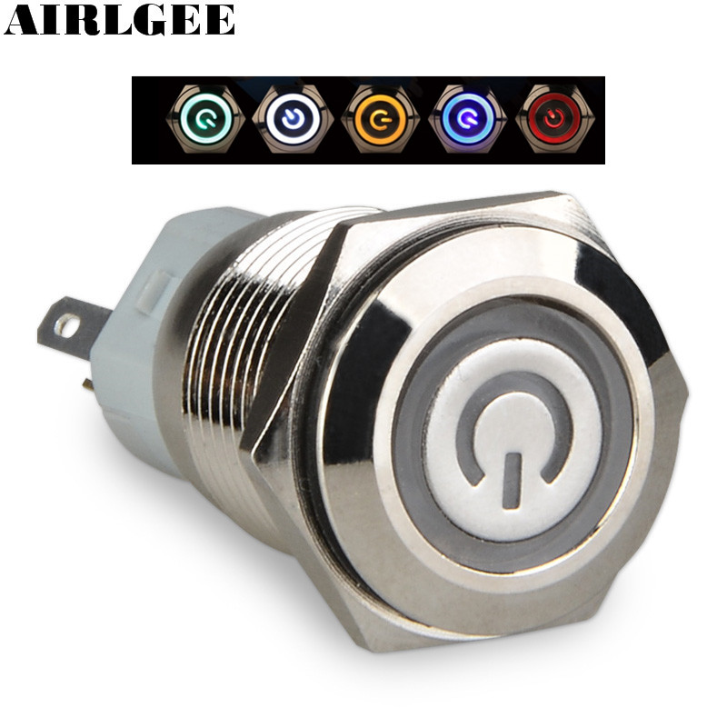 1NO+1NC Latching type 16mm Round Metal Power Push Button Switch 5Pin Multicolor Ring LED Angel eye Power symbol Switch 12V 24V
