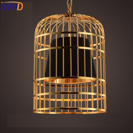 IWHD Gold Iron Style Loft Industrial Vintage Pendant Lights Retro birdcage Hanging Lamp Kitchen Dining Room Luminaire Suspendu iwhd iron vintage pendant light fixtures loft style industrial glass hanglamp green kitchen retro lamp dining room luminaire