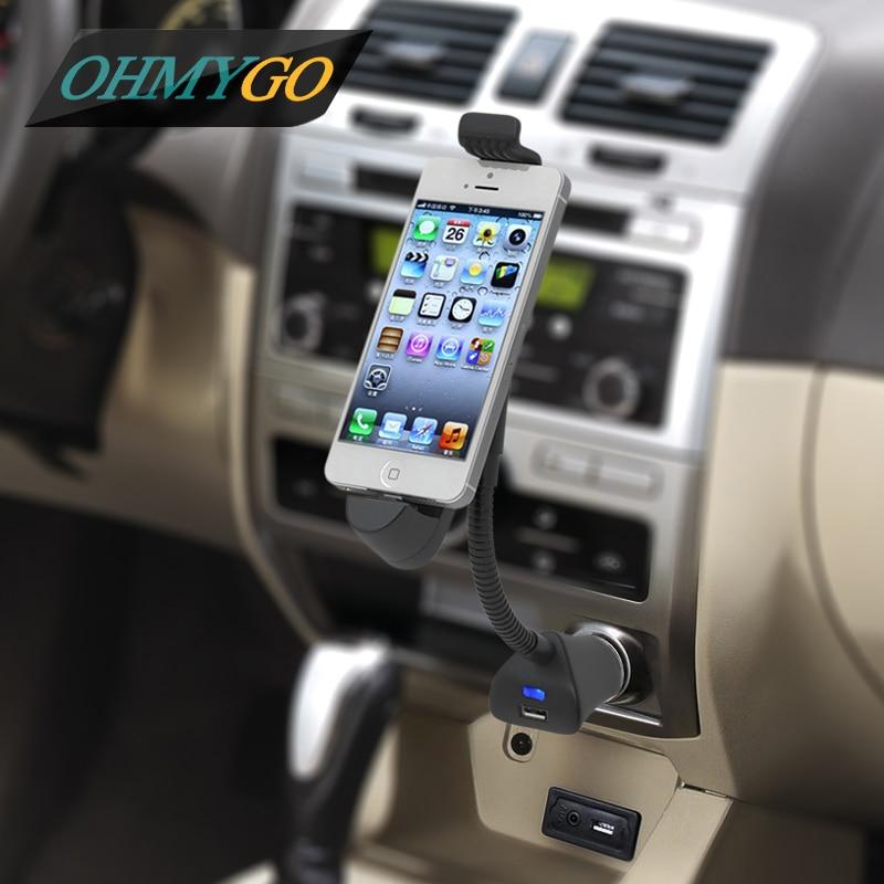 imágenes para Car Mount Soporte Soporte Del Sostenedor Del Teléfono con Cargador USB para el iPhone 7 6 más 6 S 6 5S 5C 5 180 Grados de Rotación Cargador de Coche cuna