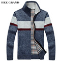 HEE GRAND Men Casual Cardigan Stripe Pattern Stand Collar 2017 New Arrival Early Spring Thin Wool Sweater Size M-3XL MZL684