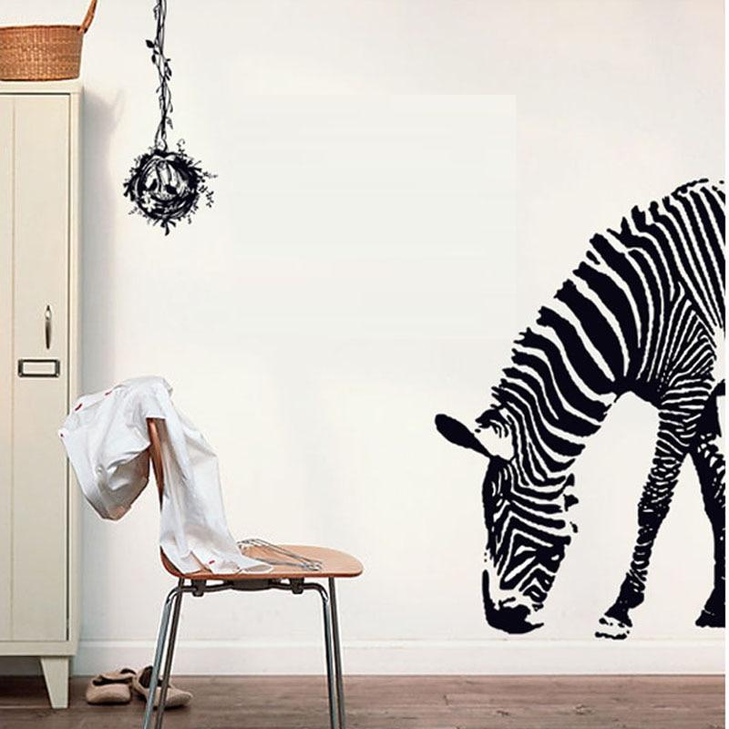 6 Ontwerpen Moderne Eenvoudige Stijl Zwart Wit Zebras Muurstickers