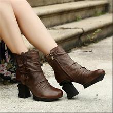 Нарядные женщины сапоги цветок высокое качество женская обувь осенью и зимой из натуральной кожи толстые каблуки платформы ботильоны