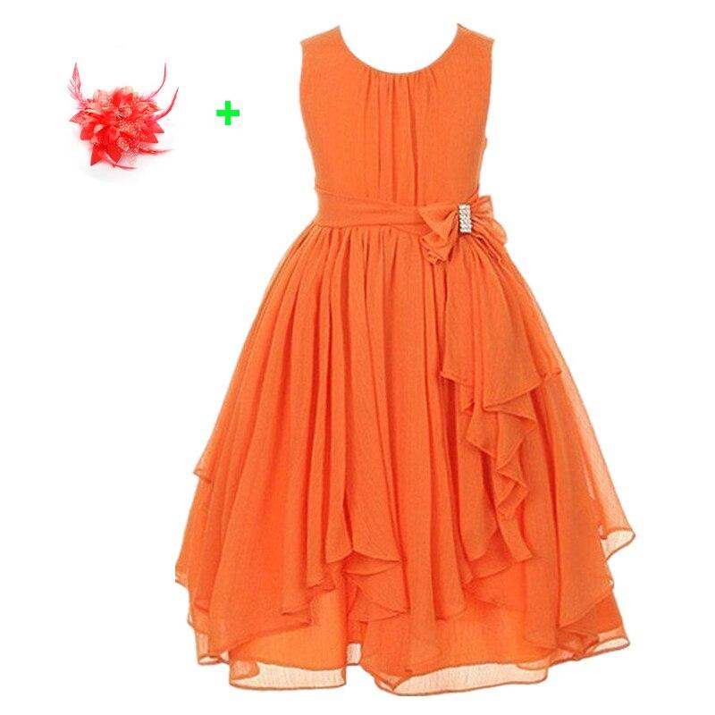 где купить teenage party dresses 3-13 year olds pink flowers princess girls sleeveless birthday party wear orange beach dress по лучшей цене