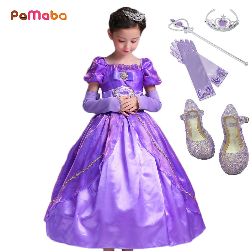 PaMaBa 2-12 Years Old Girls Tangled Cosplay Costume Princess Rapunzel Dresses Outfit Kids Halloween Birthday Make up Party Dress kids adult green alien inflatable costume christmas halloween birthday make up party fun toys et dress up cosplay suits outfit