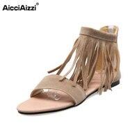 Size 30 48 Women Fashion Flat Sandals Ladies Flip Flops Slippers Tassel Clip Toe Sandal Gladiator