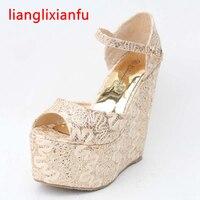Mulheres Sandálias de Cunha de ouro Renda Preta Saltos Ultra High Heel mulheres Sapatos com Tira No Tornozelo de Casamento Nupcial Sapatos de Verão Tamanho Grande 399A-2