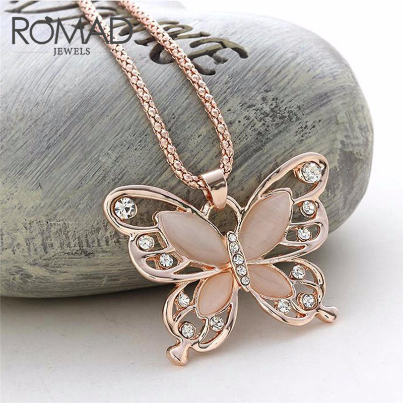 ROMAD Butterfly Cat Eye Stone Necklace Pendants Women Wild Cloths Rose Gold CZ Sweater Charms Jewelry 70CM Necklace Statement R4 ...