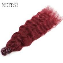 """Neitsi 20 """"1 г/локон 50 г 530 # U кончик ногтя Человеческие волосы предварительно таможенного волос естественная волна кератина капсулы машина сделала Волосы Remy"""