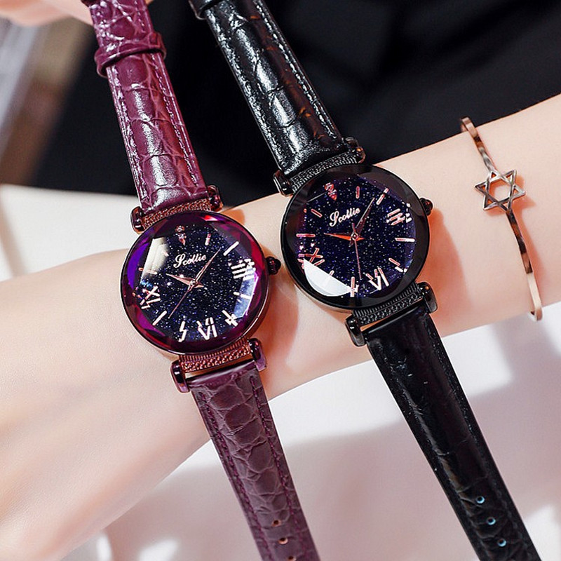 2018 New Starry Dial Women Watch Lady Rhinestone Casual Quartz Watches Women Luxury Leather Strap Wrist Watch Clock Women reloj duoya fashion luxury women gold watches casual bracelet wristwatch fabric rhinestone strap quartz ladies wrist watch clock