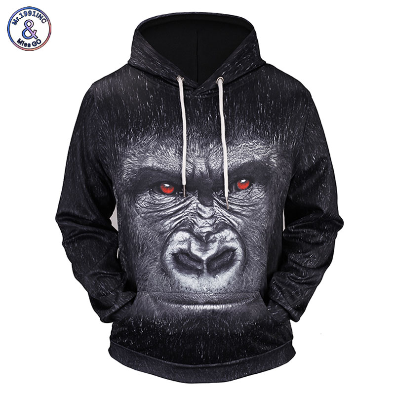 Mr.1991inc New Fashion Hoodies Men/women 3d Sweatshirts Print Red Eyes Monkey Thin Hooded Hoody Tracksuits Pullovers Men's Clothing