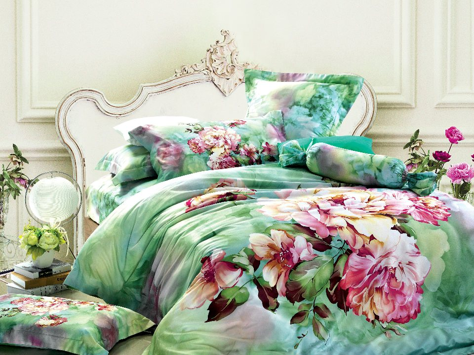 Green Floral Bedding Set Sets Queen King Size Duvet Cover