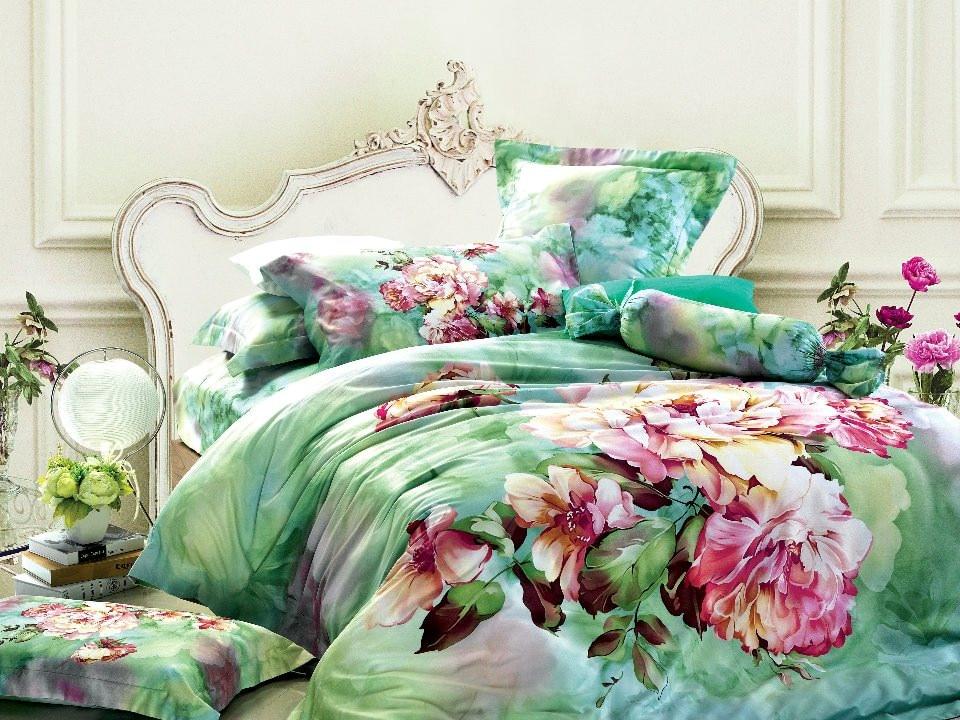 Green floral bedding set sets queen king size duvet cover