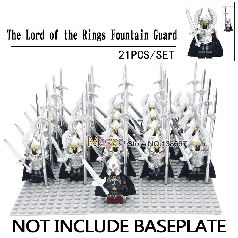 Blocks Liberal 21pcs/lot Legoing Minifigs Medieval Knights Fountain Guard Armor Infantry Roman Soldier Army Lord Of The Rings Toys For Children Buy One Give One Model Building