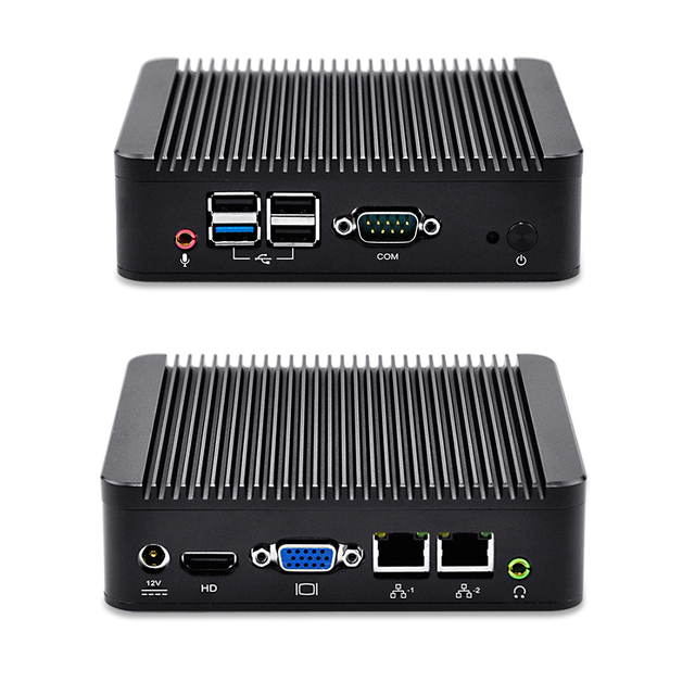 Baytrail QOTOM-Q190S J1900 2.42G Mini computador desktop 2 LAN quad core cpu onboard