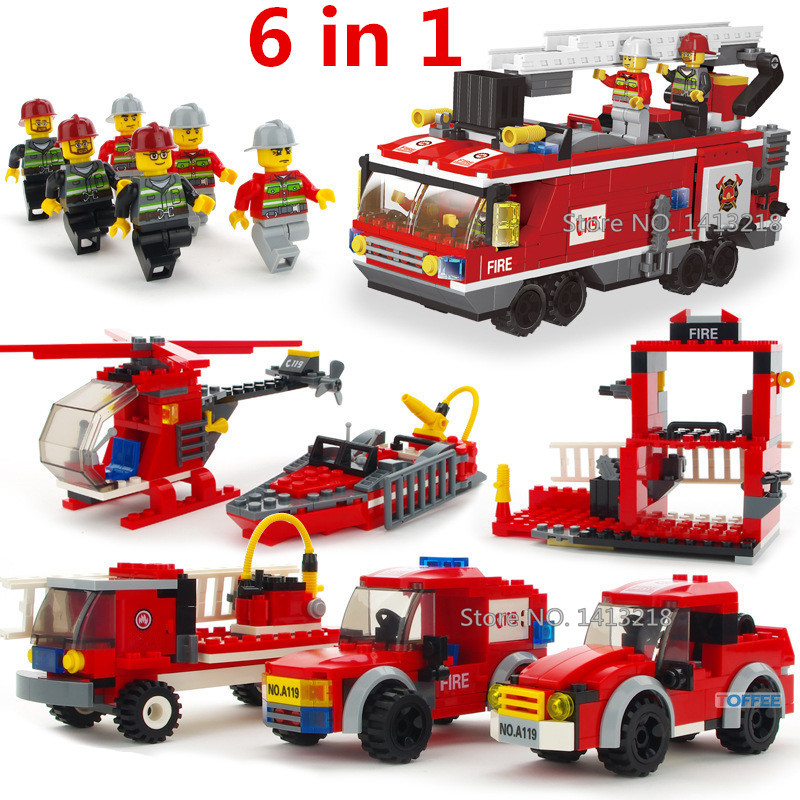 520pcs 6 Cars FIRE RESCUE Truck Firefighting Fireman Creator City Technic Building Blocks Brick Figures Gifts Toys Boys Children the mortal instruments 6 city of heavenly fire