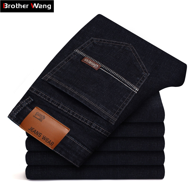 2019 Autumn Winter New Men's Brand   Jeans   Business Casual Black Blue Elastic Denim Pants Plus Size Skinny   Jeans   Male 38 40 42