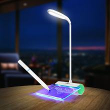 Unique Message Fluorescent Plate LED Table Lamp Adjustable Rechargeable USB Reading Touch Sensor 3 Colors(China)
