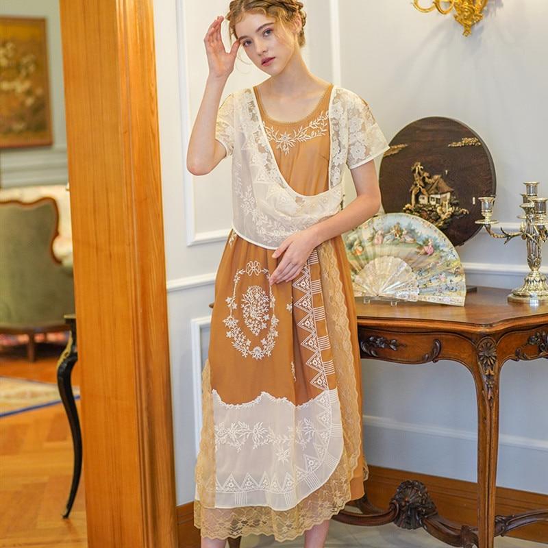 Femmes d'été français Vintage Mori filles robe dames rétro exotique décontracté lâche broderie dentelle Patchwork longue robe robe femme