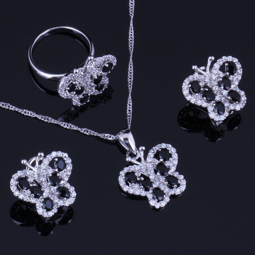 Superior Butterfly Black Cubic Zirconia White CZ 925 Sterling Silver Jewelry Sets For Women Earrings Pendant Chain Ring V0998