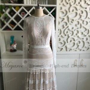 Image 3 - Mryarce שיק שמלות כלה ייחודי תחרה מקסים פולקה נקודות ארוך שרוול כלה בוהמית כלה שמלות