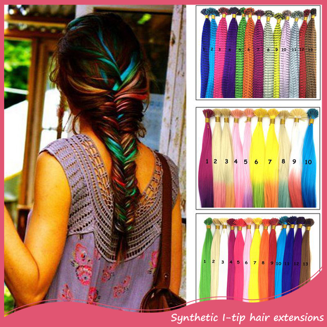 Wholesale 300pcs Ombre I Tip Hair Extensions 2 Tones 18Inch Grizzly Snythetic Loop Feather Hair Extension Hairpieces