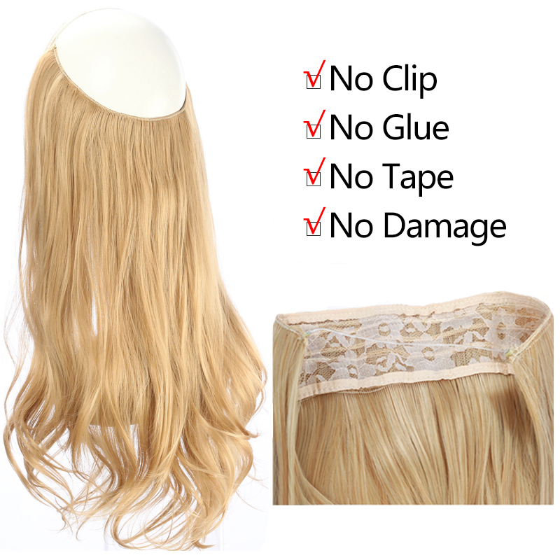 """12""""14"""" 16"""" 18"""" Wave Halo Hair Extensions Invisible Ombre Bayalage Synthetic Natural Flip Hidden Secret Wire Crown Hair Piece 4"""
