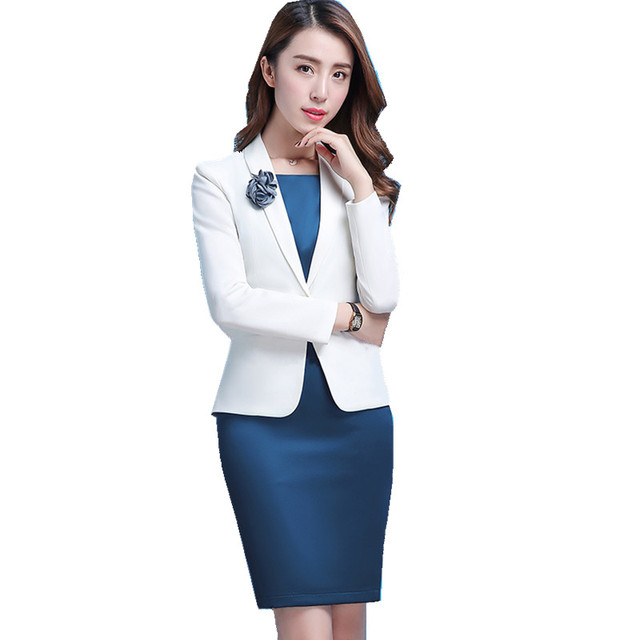 Fmasuth Winter Dress Suit For Ladies 2 Pieces Long Sleeve White