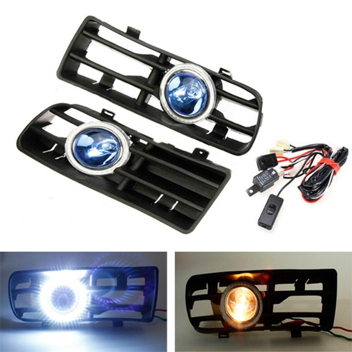 2Pcs Car styling Blue LED Fog Lights Front Bumper Grille for VW Golf Angel Eyes Lamp 1998 1999 2000 2001 2002 2003 2004