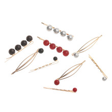 3Pcs/set Crystal Ball Hairpins Korea Fashion Metal Geometric Hair Accessories for Women Red Champagne Imitated-pearl Hair Clip(China)