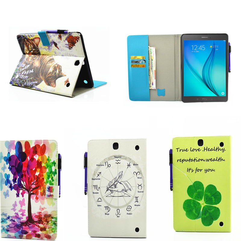 For Samsung Galaxy Tab A 9.7 SM-T550 SM-T555 T550 Case 2 Folding Flip PU Leather Cover Shell Stand Case For P550 P555 P555C pu leather case stand cover for samsung galaxy tab a 9 7 sm t550 t555 p550 9 7 360 rotating tablet smart flip cover sm t550
