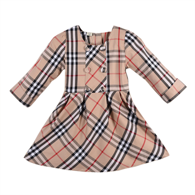 Long Sleeved Girl Autumn Dress Party Wedding Dress Sweet Princess Winter Baby Girl Dresses Cotton Plaid Ruched 2017 Kids Clothes fashion jacquard spring and autumn long sleeved lace print dress princess party baby girl dresses girl clothes 3 7 yrs