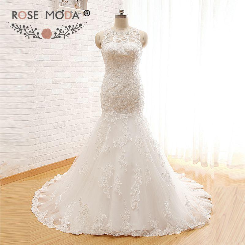 Rose Moda High Neck Mermaid Wedding Dress Lace Wedding Dresses Cut Out Back