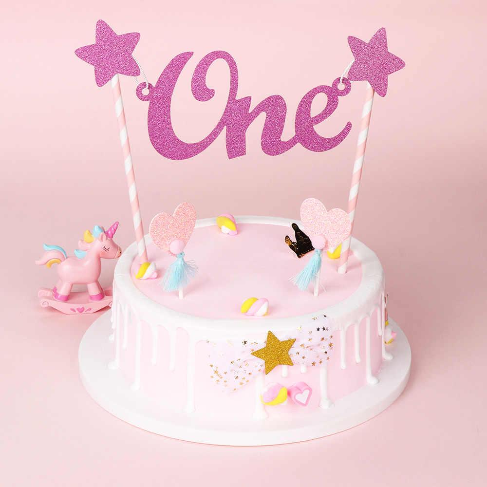 1St Happy Birthday Cake Topper Carta Um Brilho Da Estrela do bebê chapéus de Coco Do Bolo Palhas Bandeira do Partido Bunting Decoração Do Bolo Artesanato DIY
